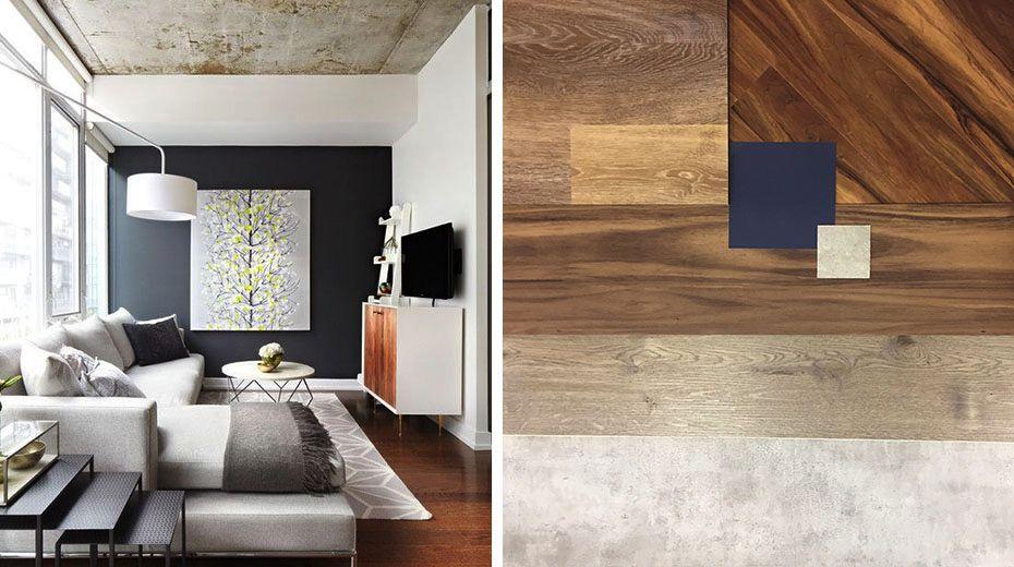 Komibnácia rôznych povrchov na podlahe i nábytku